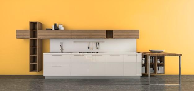 Cozinha contemporânea de renderização 3d na sala amarela
