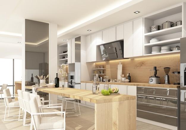 Cozinha contemporânea moderna branca com equipamento de cozinha e balcão da ilha no piso de madeira. renderização 3d