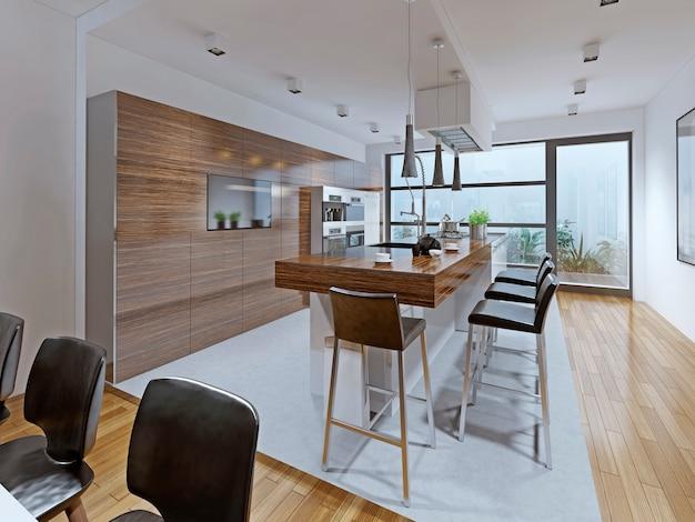 Cozinha de alta tecnologia com balcão embutido na ilha.