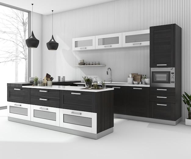 Cozinha de barra preta de renderização 3d no quarto mínimo no inverno