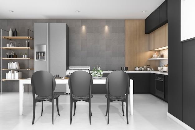 Cozinha de decoração preta de renderização 3d com design de madeira