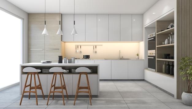 Cozinha de design moderno branco de renderização 3d com lâmpada