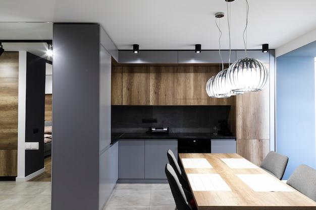 Cozinha de design moderno e sala de jantar