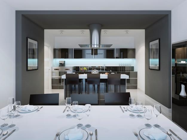 Cozinha de estilo contemporâneo com uma barra de ilha separada.