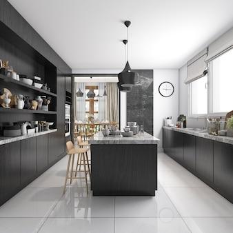 Cozinha de estilo industrial de renderização 3d com zona de jantar de madeira preta