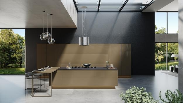 Cozinha de estilo moderno com design de sala de estar e plantas, renderização 3d