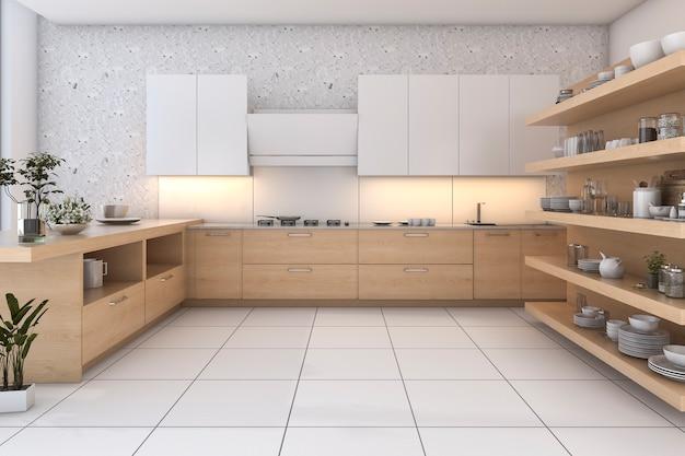 Cozinha de loft de madeira de renderização 3d com bar e zona de estar