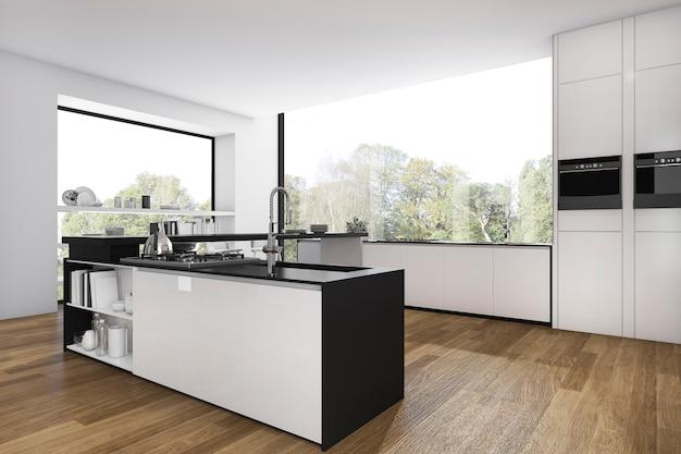Cozinha de piso de madeira de renderização 3d e sala de jantar mínima com vista da janela