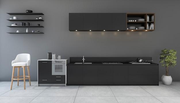 Cozinha de preto de renderização 3d com quarto de design minimalista