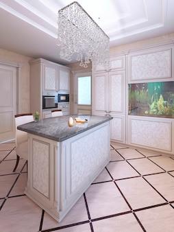 Cozinha de vanguarda com móveis de padrão branco, bar cadeiras de tecido na cor branca com carcaças de madeira marrom escuro