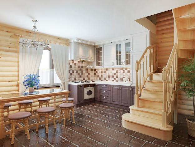 Cozinha e sala de jantar em uma escada interna de toras para o segundo andar e uma lareira