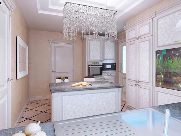 Cozinha elegante de vanguarda com ilha