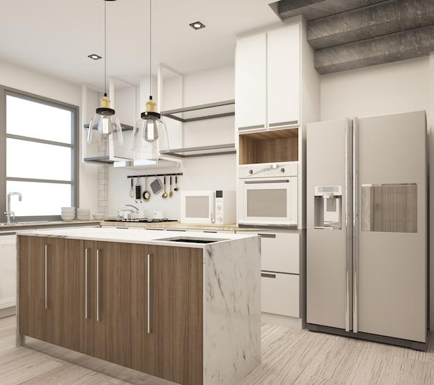 Cozinha em estilo loft moderno em casa com concreto e madeira texturizada com conjunto de sofás