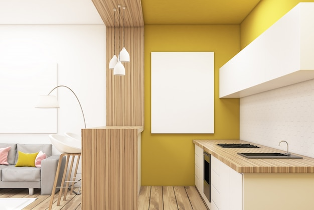 Cozinha, em, um, apartamento estúdio