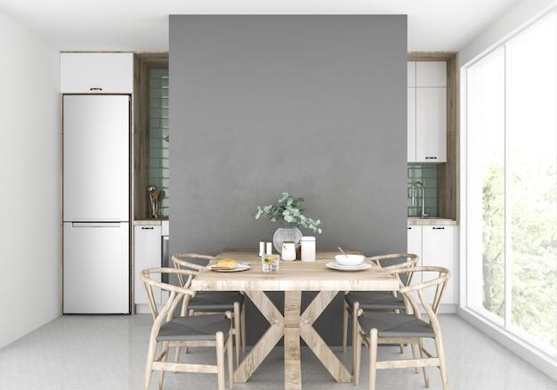 Cozinha escandinava com área de jantar, parede em branco
