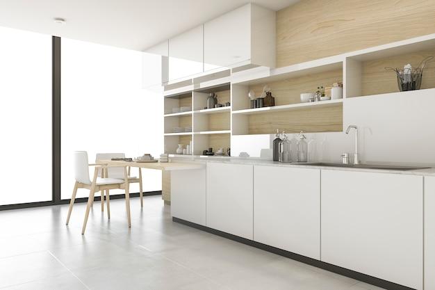 Cozinha escandinava com estilo minimalista