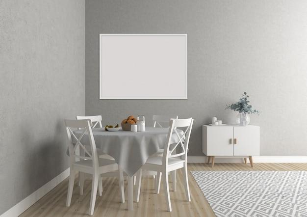 Cozinha escandinava com moldura horizontal branca