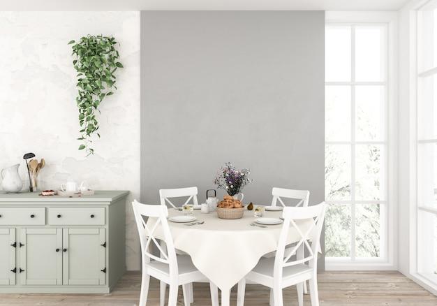 Cozinha escandinava com parede vazia