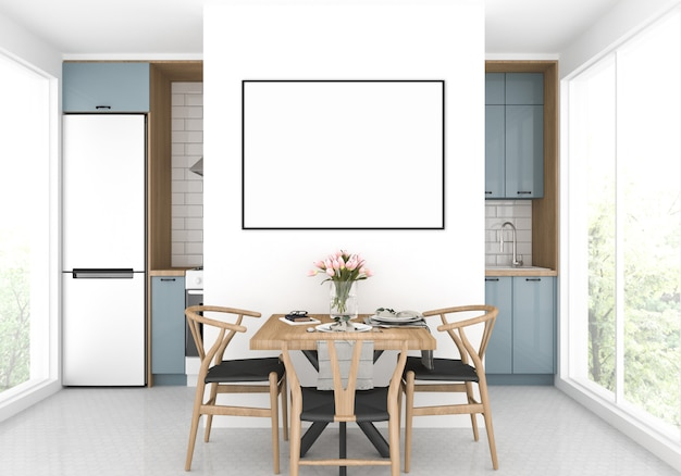 Cozinha escandinava com uma mesa de jantar, maquete de quadro horizontal, fundo de obras de arte