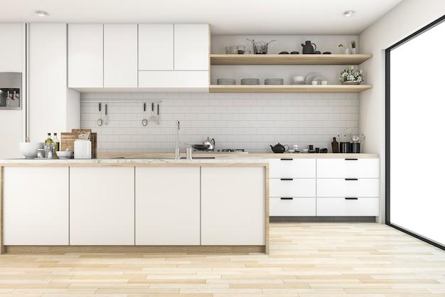 Cozinha escandinava de renderização 3d com design de tom branco