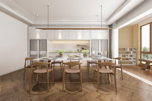 Cozinha escandinava de renderização 3d com mesa de jantar