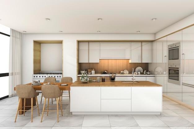 Cozinha escandinava de renderização 3d e sala de jantar com belo azulejo