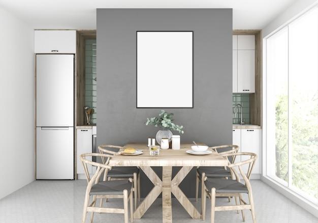 Cozinha escandinava, maquete vertical, exibição de obras de arte