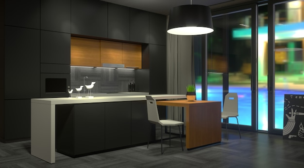 Cozinha escura moderna com janela