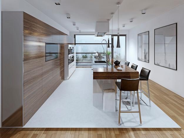 Cozinha espaçosa com ilha de tendência contemporânea.