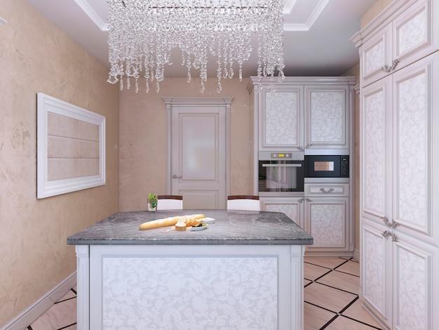 Cozinha estilo art déco com balcão
