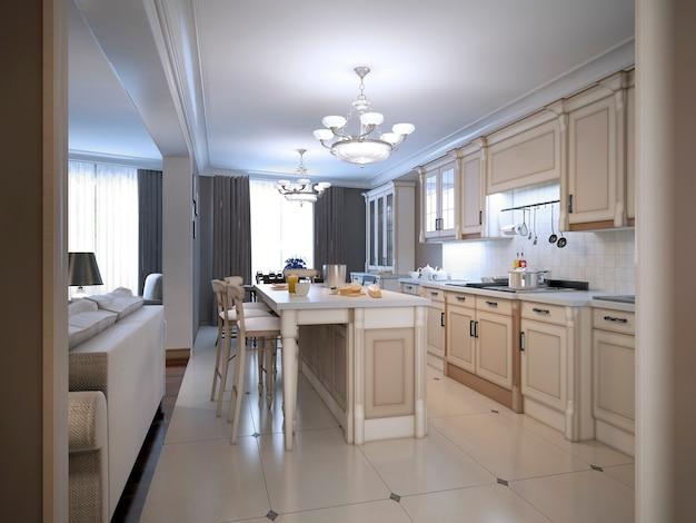 Cozinha estilo provençal em cozinha branca projetada sob medida com grande ilha central com bar.