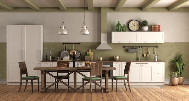 Cozinha estilo retro com mesa de jantar de madeira