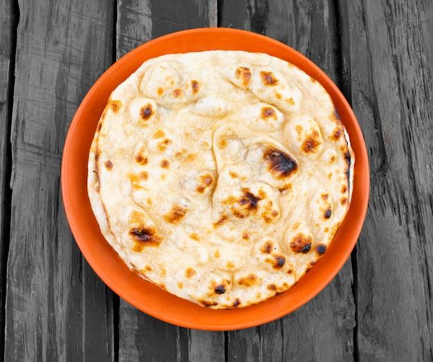 Cozinha indiana tandoori roti pão de trigo integral