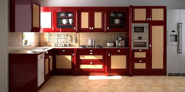 Cozinha interior de casa moderna com sala de estar