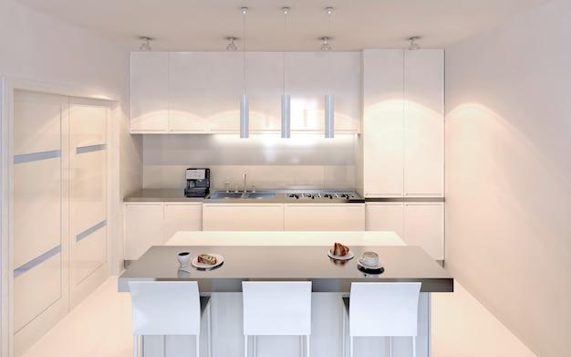 Cozinha luminosa com estilo contemporâneo de bar de ilha. móveis brancos com decoração crua. paredes brancas e piso de concreto envernizado polido. renderização 3d