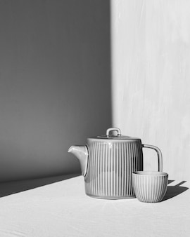 Cozinha minimalista abstrata em preto e branco