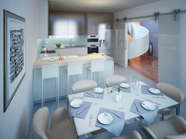 Cozinha minimalista com design de mesa de jantar.
