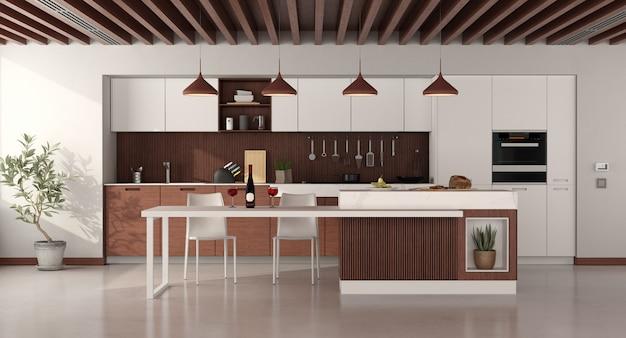 Cozinha minimalista de madeira com ilha e cadeiras