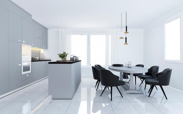 Cozinha minimalista moderna do vintage escandinavo da rendição 3d com área de jantar branca