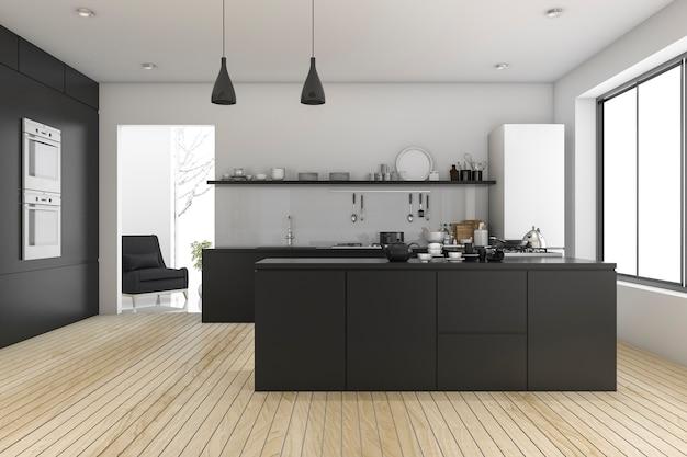 Cozinha minimalista preta perto da janela