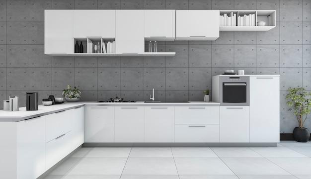 Cozinha moderna branca de renderização 3d na sala de estilo loft