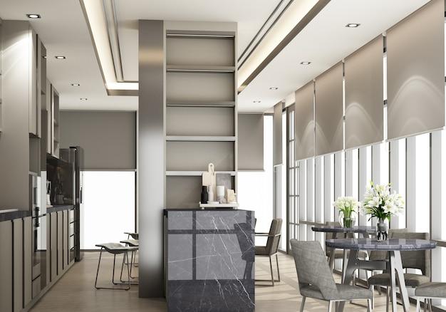 Cozinha moderna cinza e contemporânea com equipamento de cozinha e balcão de ilha em mármore preto no piso de madeira. renderização 3d