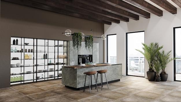 Cozinha moderna com armário de cozinha, prateleira e design de teto