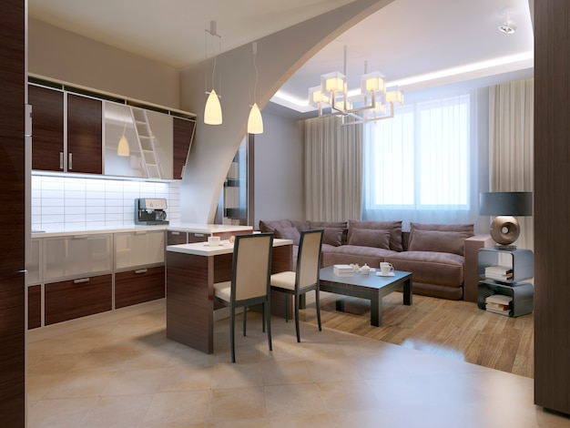 Cozinha moderna com design de salão