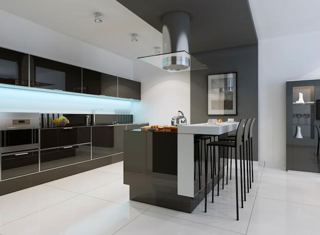 Cozinha moderna com fachada de tela plana em armários tons de preto e eletrodomésticos com painéis.