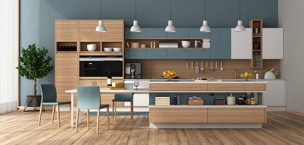 Cozinha moderna com ilha e mesa de jantar
