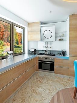 Cozinha moderna com mesa de jantar de madeira clara para seis pessoas