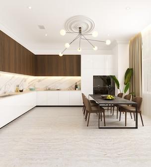 Cozinha moderna com mesa e cadeiras 3d render