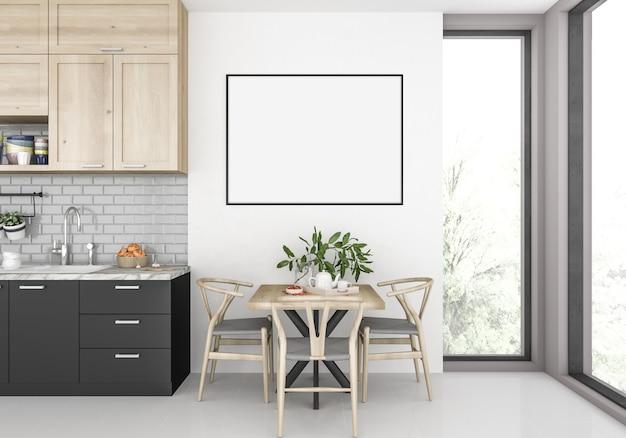 Cozinha moderna com moldura horizontal vazia