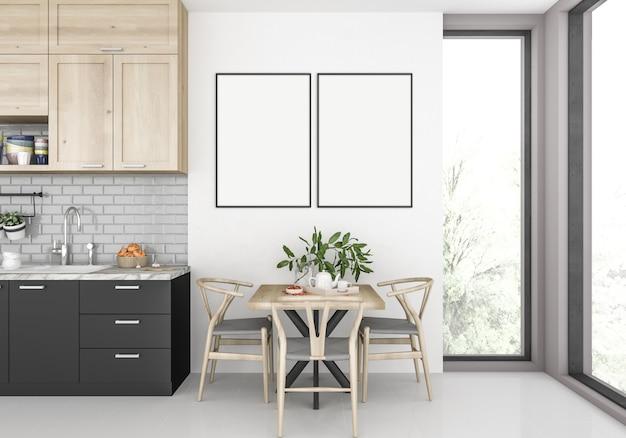 Cozinha moderna com molduras duplas vazias